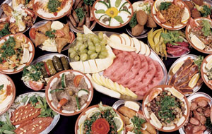 table of meze at Beirut Lounge Lebanese restaurant, bournemouth